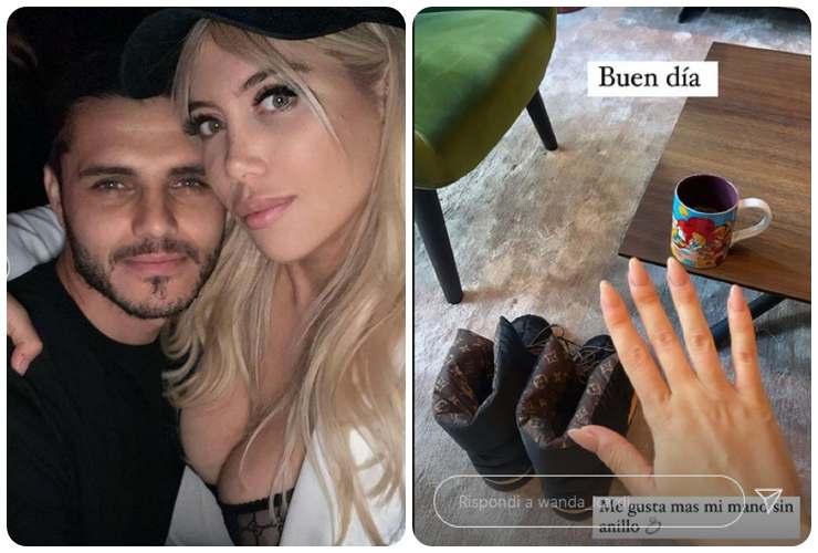 Mauro Icardi smentisce la rottura da Wanda Nara, ma lei si toglie l'anello