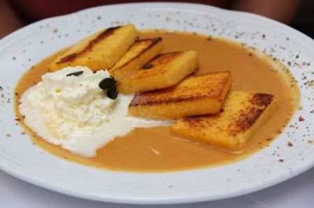Polenta fritta in crema di Zucca