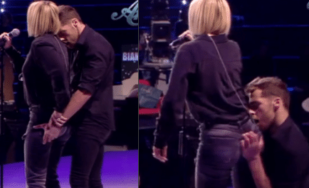 Il ballerino si struscia e pal pa Emma Marrone. La cantante reagisce furiosamente