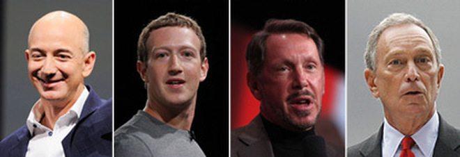 Otto miliardari hanno la ricchezza di 3.6 mld di persone. Da Gates a Zuckerberg, ecco chi sono