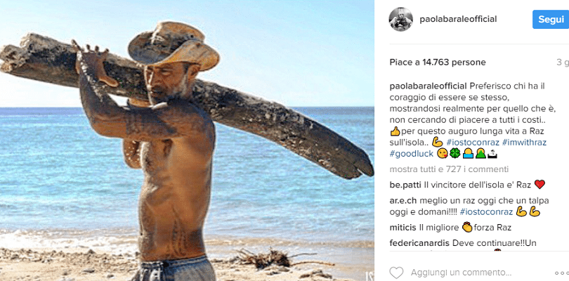 Paola Barale difende Raz Degan all'Isola dei Famosi, il post su Instagram