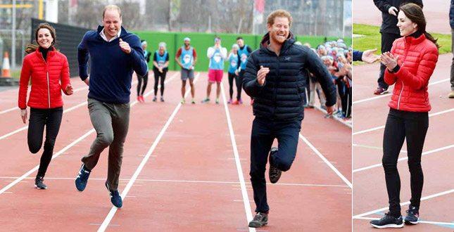 Kate Middleton va di corsa e perde con William e Harry… ma in bellezza vince sempre