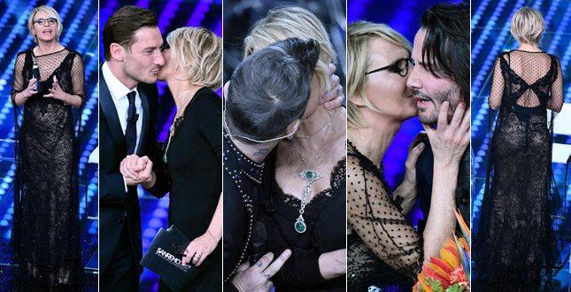 Maria De Filippi osa pizzi e trasparenze. E a Sanremo… li bacia tutti!