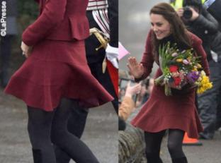 Kate Middleton, gonna corta e vento birichino