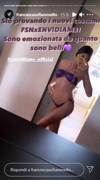 Francesca Sofia Novello sui social fa la prova costume