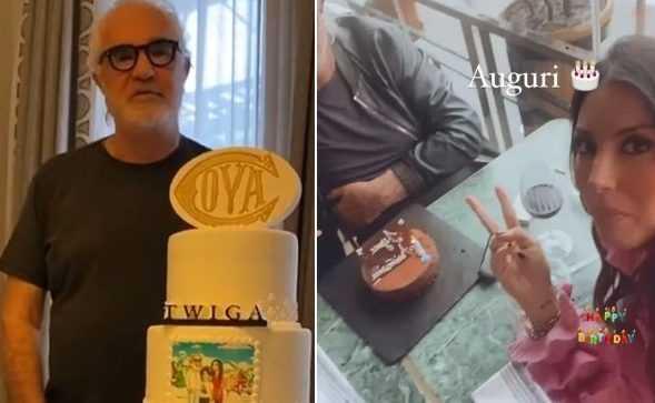Flavio Briatore festa di compleanno insieme ad Elisabetta Gregoraci e il figlio