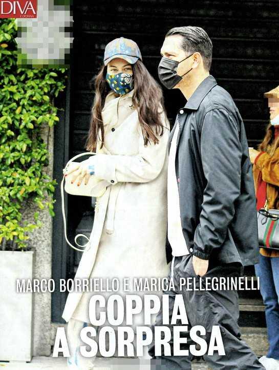 Marica Pellegrinelli in compagnia di Marco Borriello per le vie di Milano