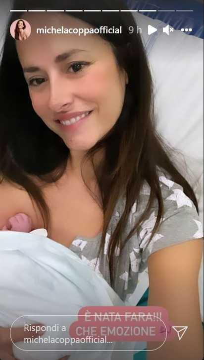 Michela Coppa sui social annuncia la nascita della piccola Fara Alma
