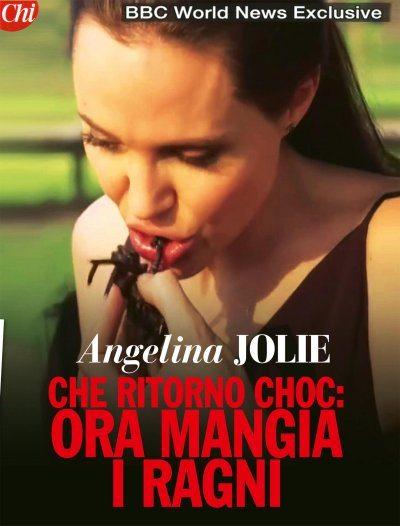 Angelina Jolie insegna a mangiare gl'insetti ai figli