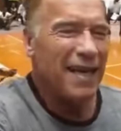 Arnold Schwarzenegger aggredito con un calcio volante