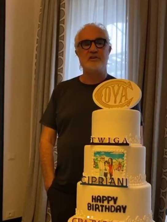 Flavio Briatore la festa di compleanno in compagnia della  Gregoraci e il figlio Nathan Falco