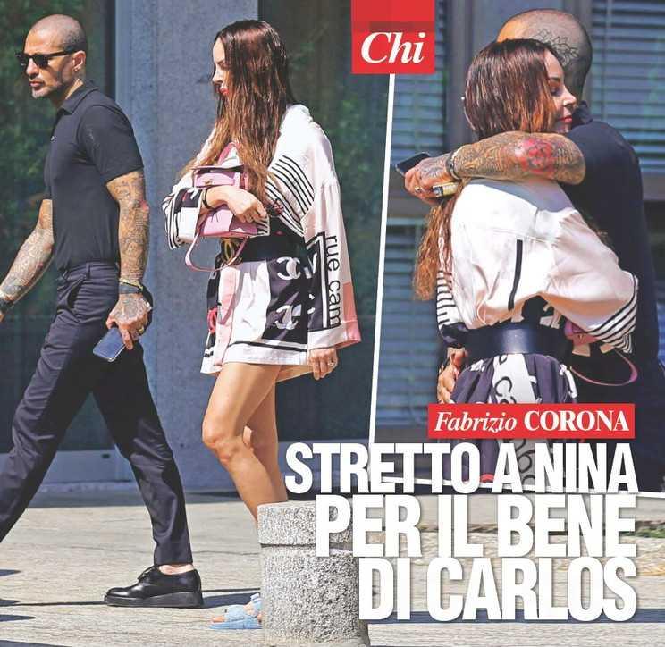 Fabrizio Corona e Nina Moric si scambiano un tenero abbraccio