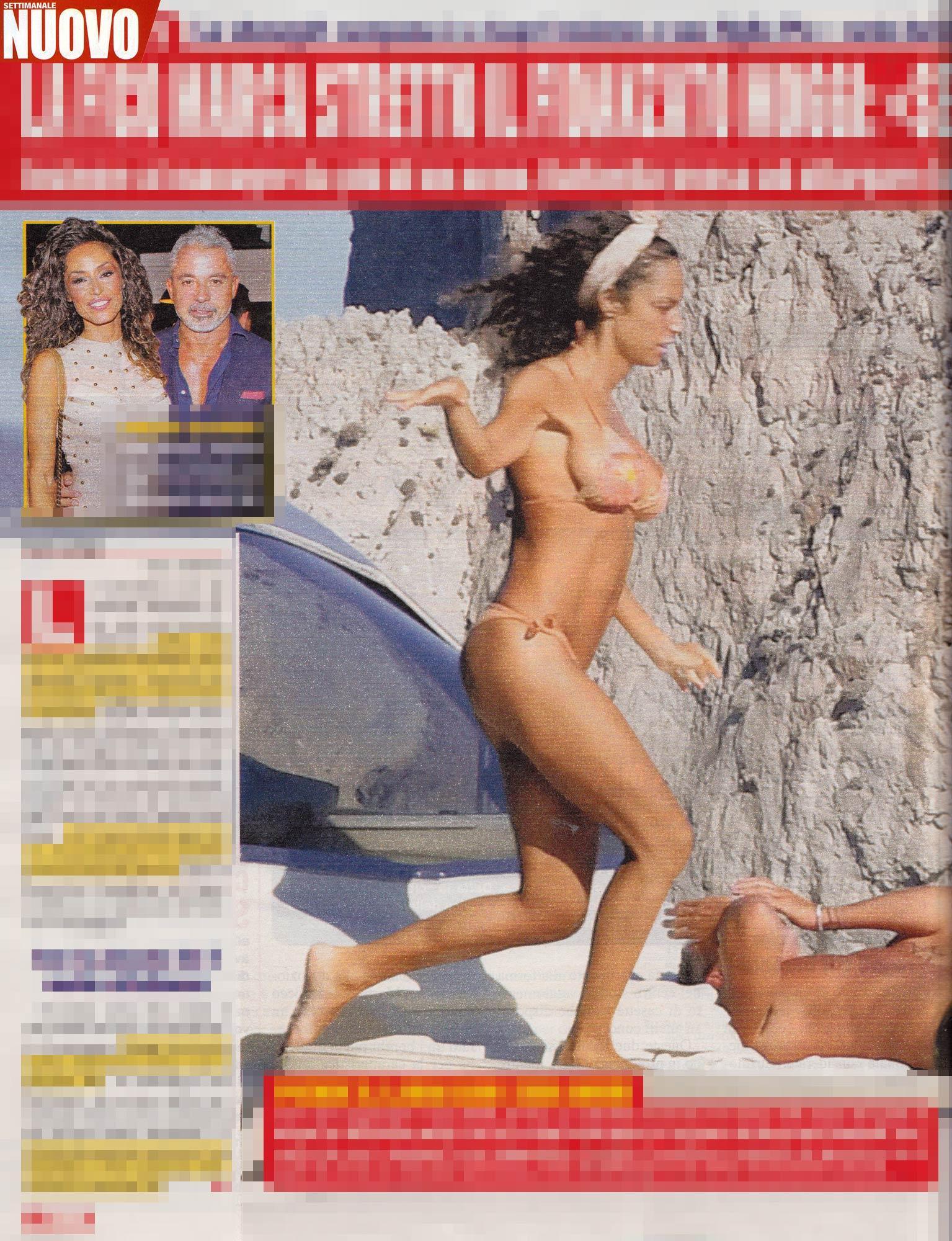 Raffaella Fico in costume, acrobazie con Moggi