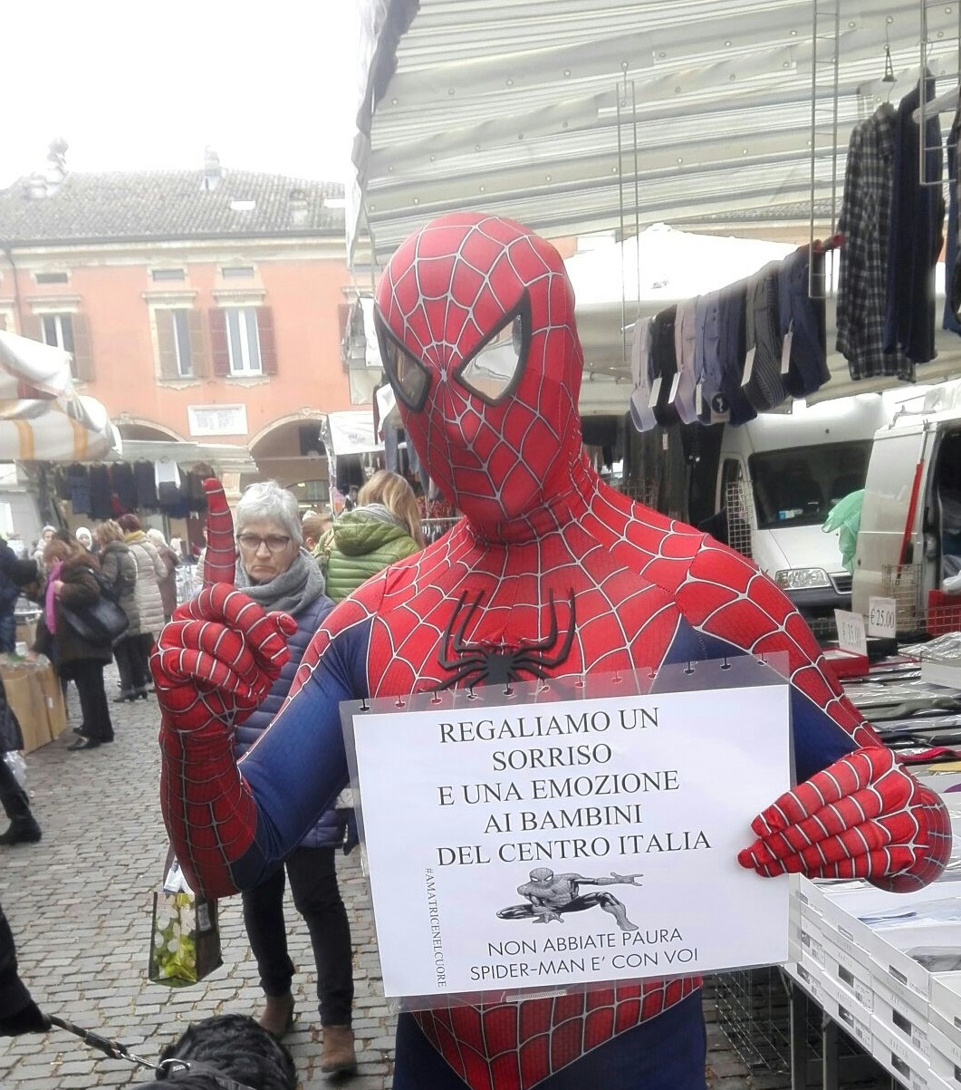 Per Amatrice scende in campo Spider-Man