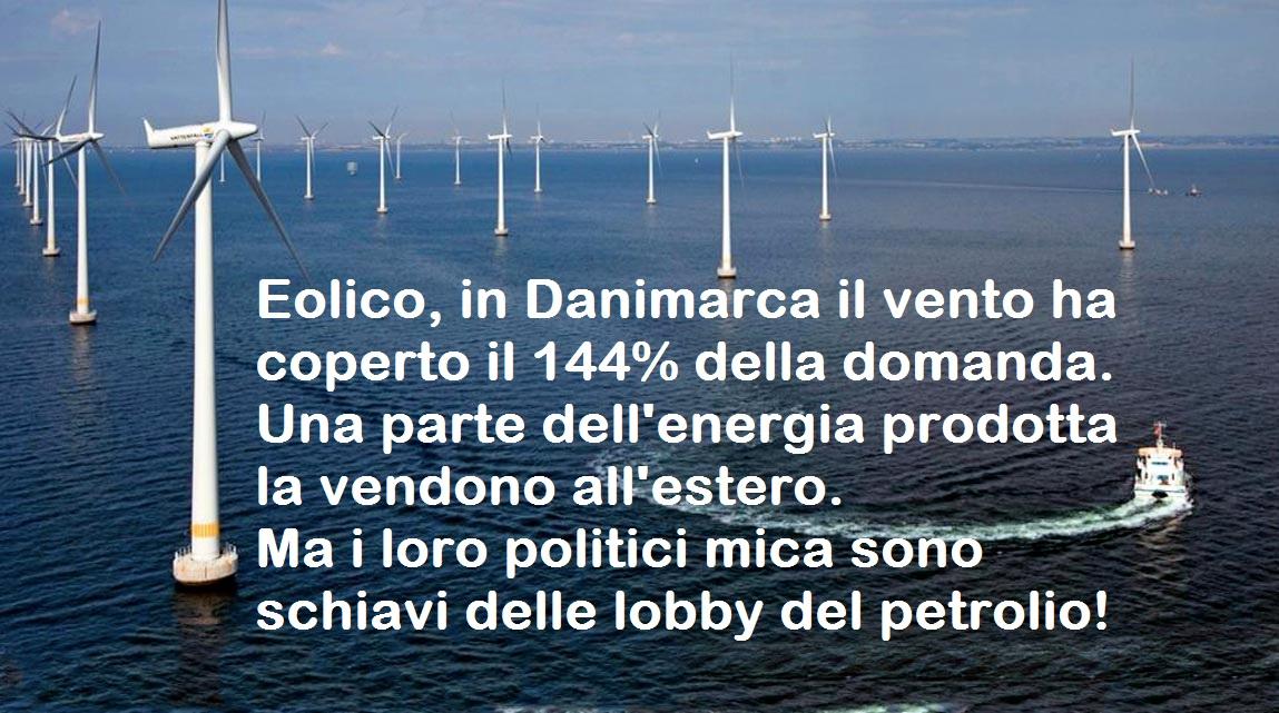 Eolico, in Danimarca il vento ha coperto il 144% della domanda. Una parte dell'energia prodotta la vendono all'estero. Ma i loro politici mica sono schiavi delle lobby del petrolio!
