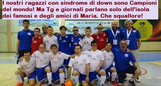Trovo a dir poco vergognoso che una notizia del genere sia del tutto ignorata dai nostri media: L'ITALIA È CAMPIONE DEL MONDO DI CALCIO A 5 PER RAGAZZI CON SINDROME DI DOWN