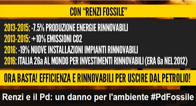 Renzi e il Pd, un danno anche per l'ambiente - Ecco il risultato dei loro conflitti d'interessi con le lobby del fossile: l'Italia è al 26° posto al mondo per investimenti nel rinnovabile - Nel 2012 era al 6° posto...!!!