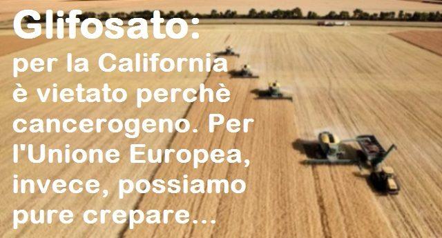 Glifosato: per la California è vietato perchè cancerogeno. Per l'Unione Europea, invece, possiamo pure crepare...