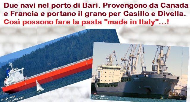 """Due navi nel porto di Bari. Provengono da Canada e Francia e portano il grano per Casillo e Divella. Così possono fare la pasta """"made in Italy""""...!"""