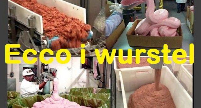 Ecco il vostro wurstel – una bella spremuta di carcasse animali trattata con ammoniaca. Ora mangiatelo pure e magari datelo anche ai vostri figli.