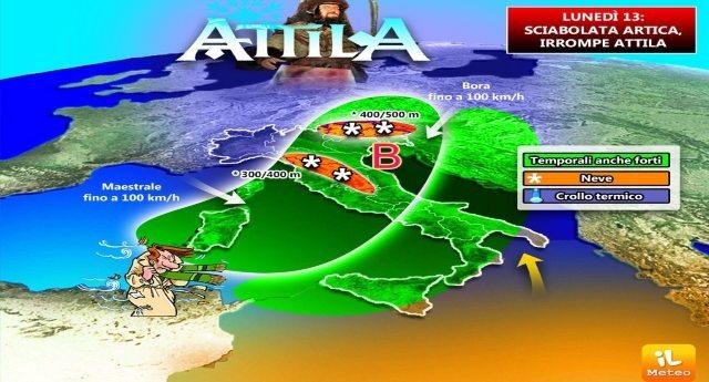 Meteo SHOCK - Lunedì 13 arriva ATTILA, sciabolata artica