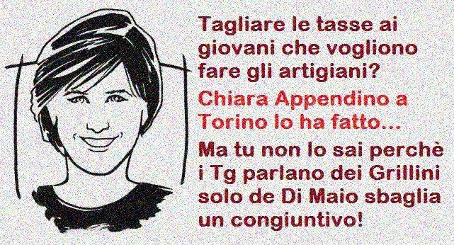 Tagliare le tasse ai giovani che vogliono fare gli artigiani? Chiara Appendino a Torino lo ha fatto... Ma tu non lo sai perchè i Tg parlano dei Grillini solo de Di Maio sbaglia un congiuntivo!