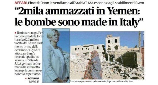 """Il ministro della Difesa Pinotti: """"La vendita delle nostre armi in Medio Oriente è legale"""" …Ok, qualcuno ora chieda a quest'idiota se essere complici di un massacro del genere è """"Legale"""" nonchè """"Morale"""" !!"""