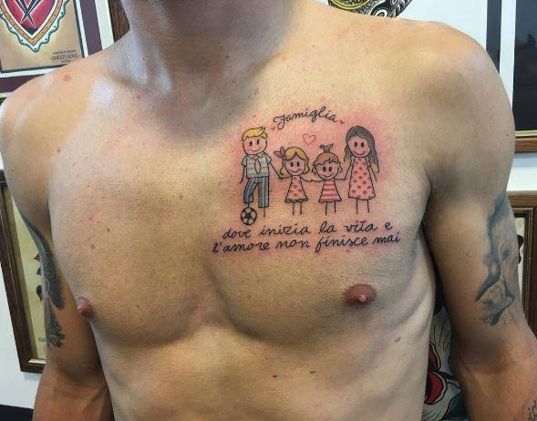 Ciro Immobile si fa tatuare la famiglia