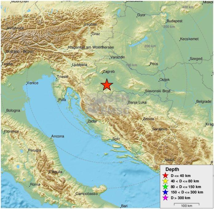 Terremoto di magnitudo 4.3 nella Croazia centrale