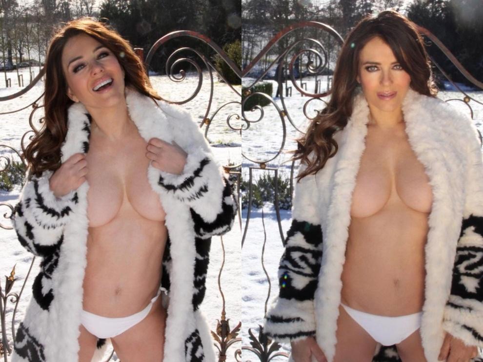 Liz Hurley, la foto in topless e slip sulla neve scattata dal figlio 19enne. Fan furiosi: «Vergognoso»