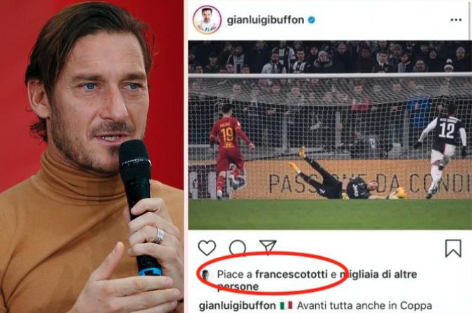 Francesco Totti, like a Buffon dopo la vittoria della Juve contro la Roma. Tifosi inviperiti sui social