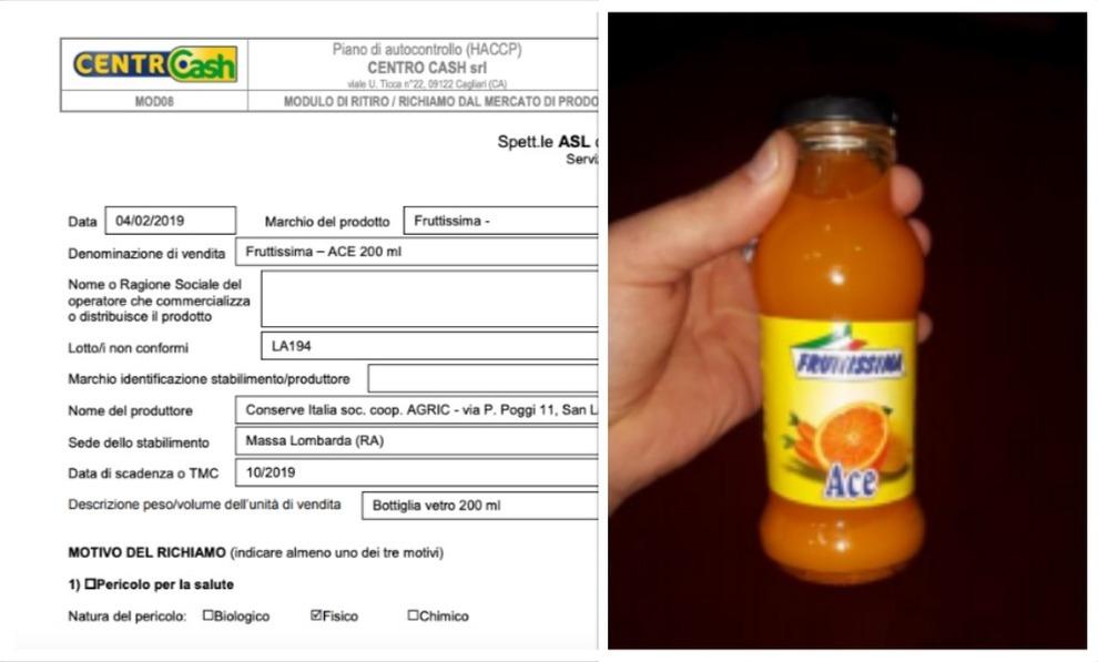 Pezzi di vetro nel succo di frutta Ace: l'allarme del ministero. «Qualcuno lo ha già comprato»