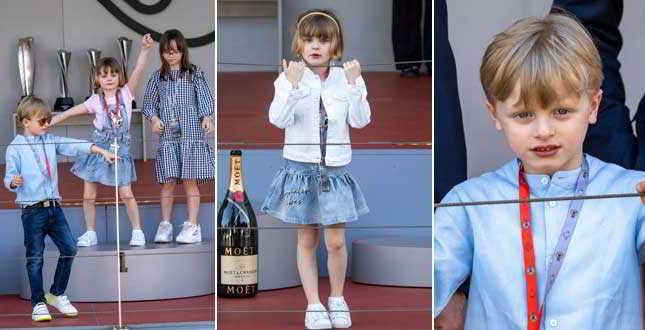 Jacques e Gabriella di Monaco scatenati a Montecarlo: sono le fotocopie di papà Alberto e mamma Charlene Wittstock