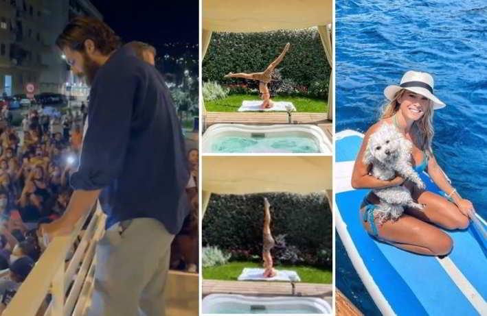 Can Yaman fa un bagno di folla, Diletta Leotta risponde con sexy yoga