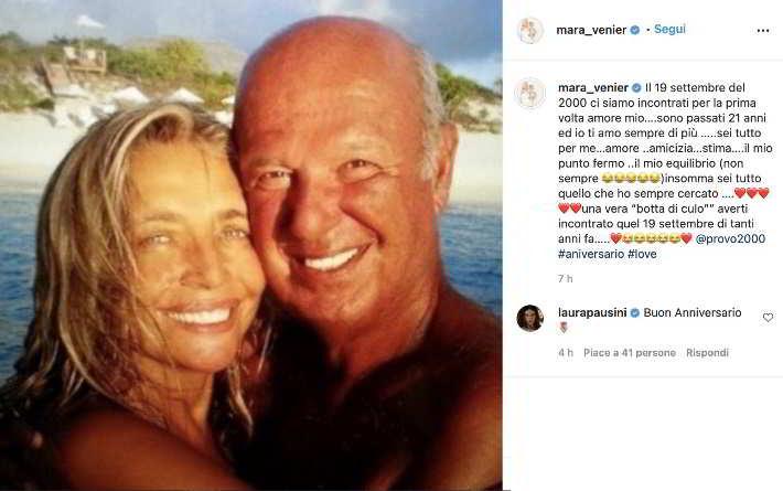 Mara Venier, 21 anni fa il primo incontro con Nicola Carraro: la dedica piena d'amore