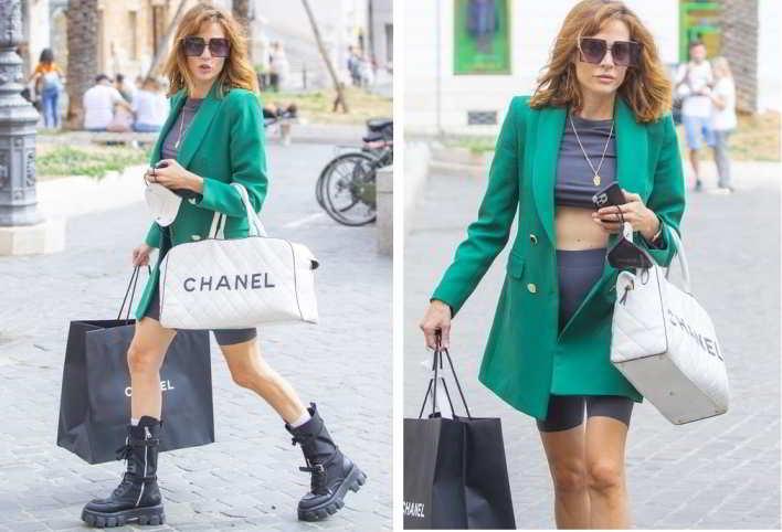 Laura Chiatti, look sexy per lo shopping di lusso a Roma