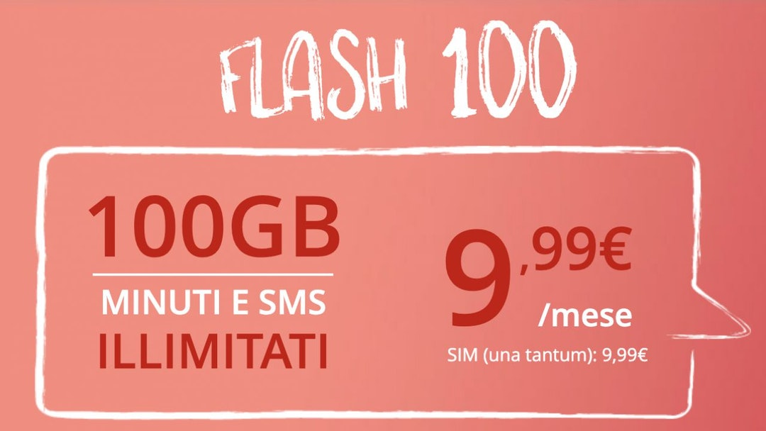 Iliad Flash 100: minuti e sms illimitati, 100 GB a 9,99 euro